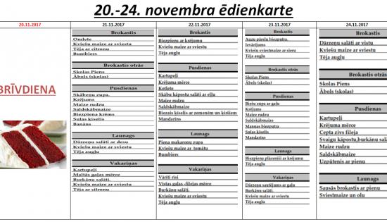 Ēdienkarte 21. – 24. novembris
