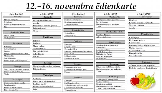 Ēdienkarte no 12.11. līdz 16.11.