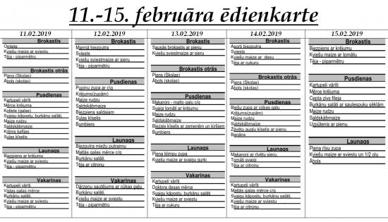 Ēdienkarte no 11.02. līdz 15.02.